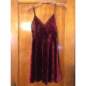 Burgundy Velvet Skater Dress